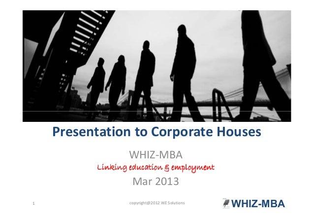 WHIZ-MBA presentation to Corporate India for their recruitment needs