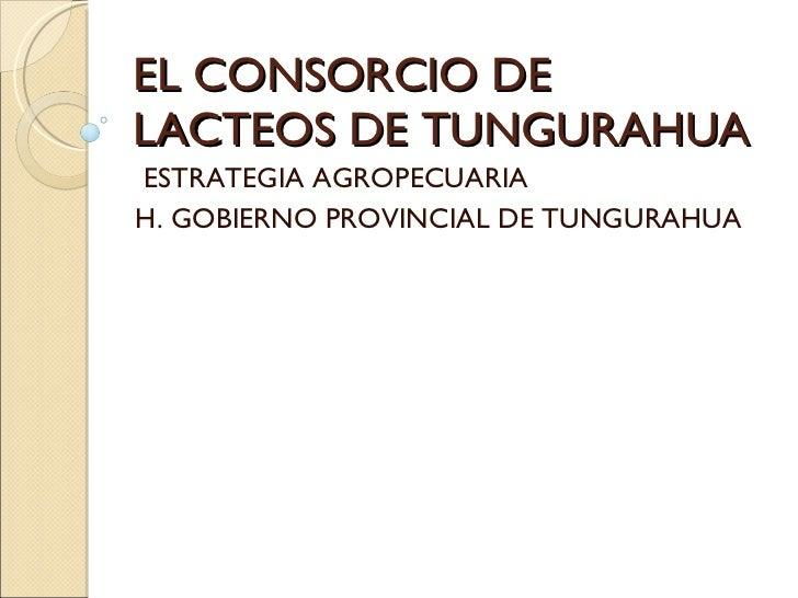 EL CONSORCIO DE LACTEOS DE TUNGURAHUA ESTRATEGIA AGROPECUARIA H. GOBIERNO PROVINCIAL DE TUNGURAHUA