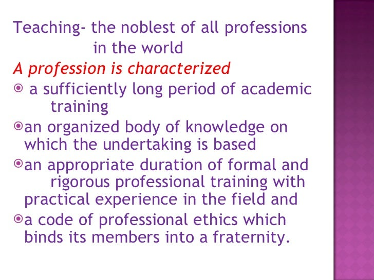 Teaching as a profession essay