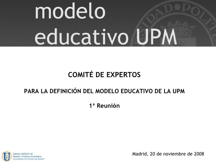 COMITÉ DE EXPERTOS PARA LA DEFINICIÓN DEL MODELO EDUCATIVO DE LA UPM 1ª Reunión Madrid, 20 de noviembre de 2008