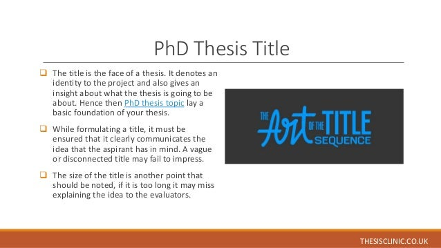 How to Make a Good Thesis Title