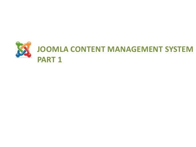JOOMLA CONTENT MANAGEMENT SYSTEM PART 1