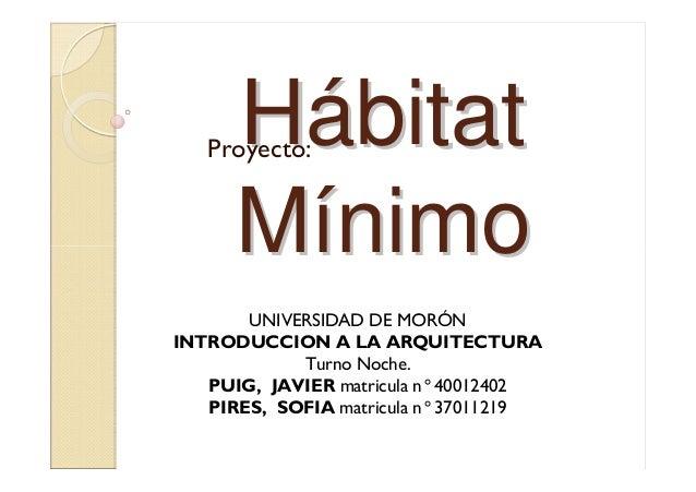 HHáábitatbitat MMíínimonimo Proyecto: UNIVERSIDAD DE MORÓN INTRODUCCION A LA ARQUITECTURA Turno Noche. PUIG, JAVIER matric...
