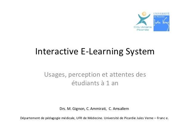 Interactive E-Learning System. Usages, perception et attentes desétudiants à 1 an