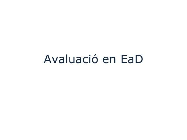 Avaluació en EaD
