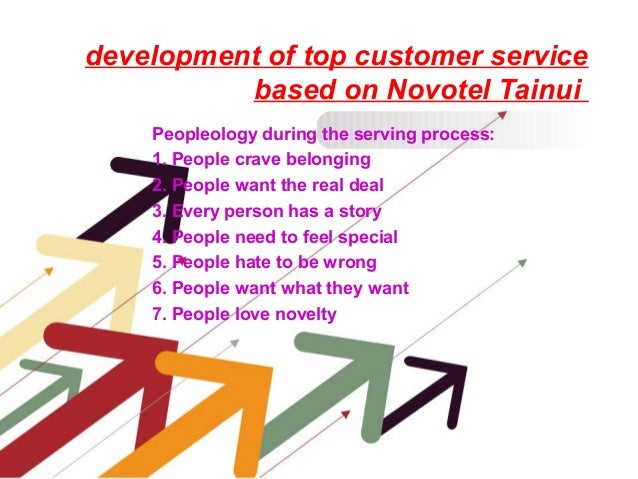 development of top customer service based on Novotel Tainui Peopleology during the serving process: 1. People crave belong...