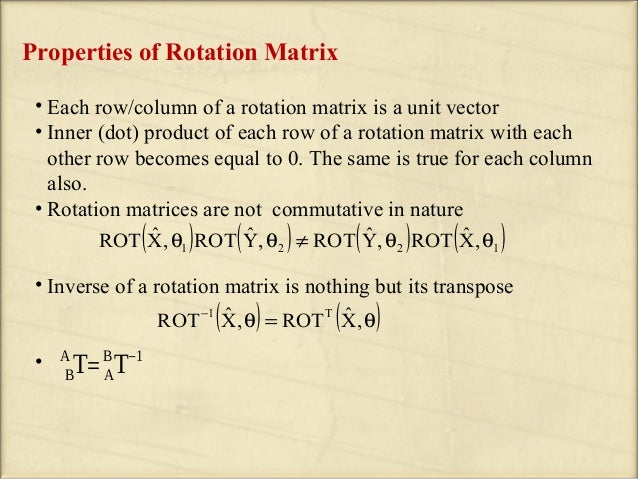 Product Rotation Matrix Properties of Rotation Matrix