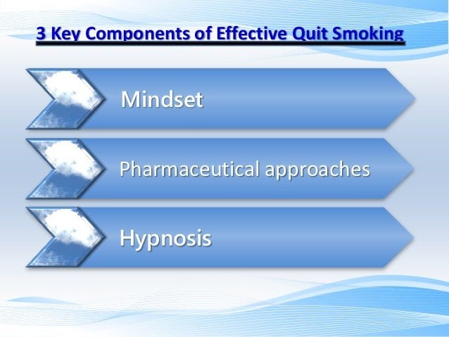 3 Key Components of Effective Quit Smoking  Mindset Pharmaceutical approaches Hypnosis