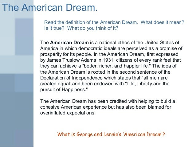 Of mice and men american dream essay