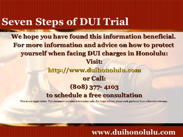 Trial Process Steps Steps of Dui Trial 10