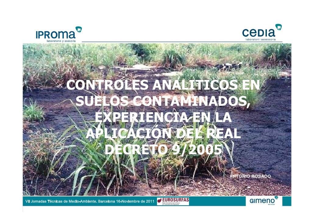 Antonio Rosado - Controles analíticos en suelos contaminados
