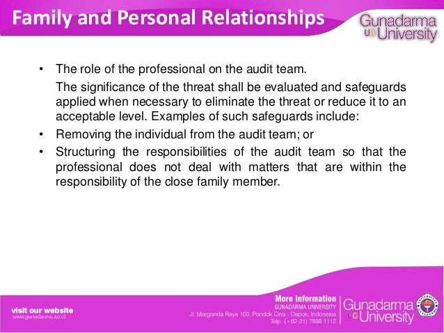 Family and Personal Relationships • The role of the professional on the audit team. The significance of the threat shall b...