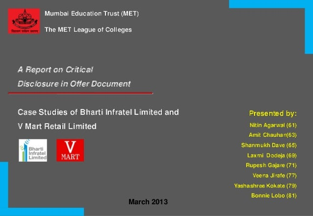 Mumbai Education Trust (MET) The MET League of Colleges  A Report on Critical Disclosure in Offer Document  Case Studies o...