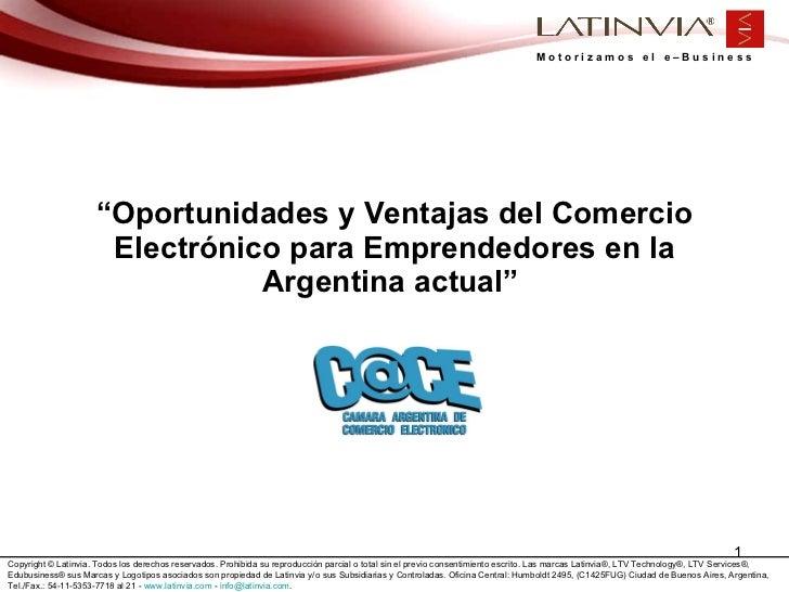 """"""" Oportunidades y Ventajas del Comercio Electrónico para Emprendedores en la Argentina actual"""""""