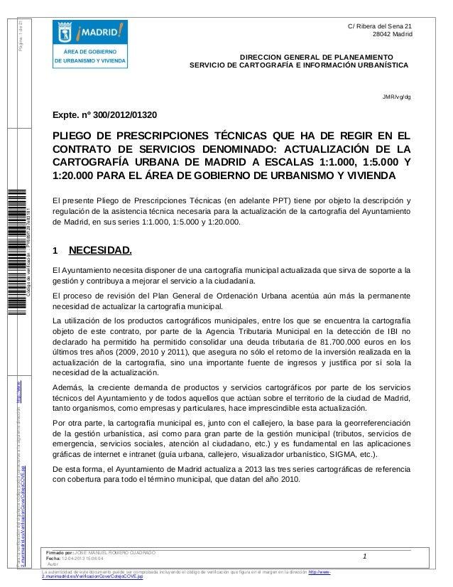 Pliego de Prescripciones Técnicas que ha de regir en el contrato de servicios denominado: actualización de la cartografía urbana de Madrid a escalas 1:1.000, 1:5.000 y 1:20.000