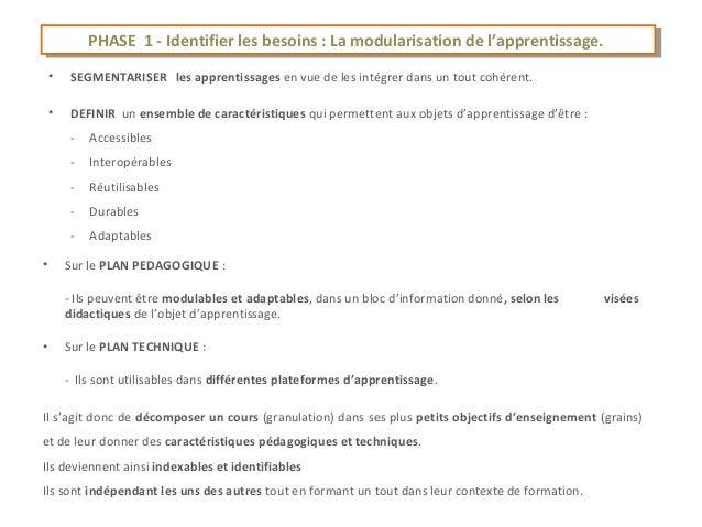 PHASE 11--Identifier les besoins : :La modularisation de l'apprentissage.             PHASE     Identifier les besoins La ...