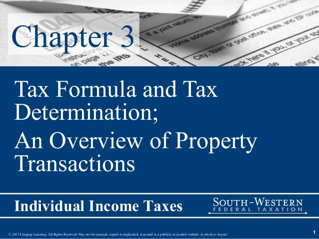 Chapter 3   Tax Formula and Tax   Determination;   An Overview of Property   Transactions   Individual Income Taxes© 2013 ...