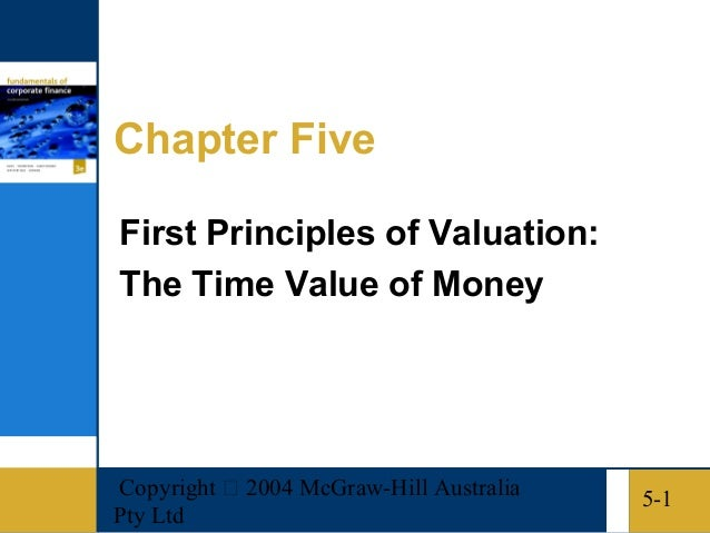 Copyright  2004 McGraw-Hill AustraliaPty Ltd5-1Chapter FiveFirst Principles of Valuation:The Time Value of Money