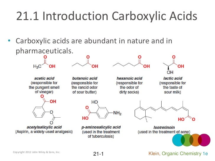 21.1 Introduction Carboxylic Acids• Carboxylic acids are abundant in nature and in  pharmaceuticals. Copyright 2012 John W...