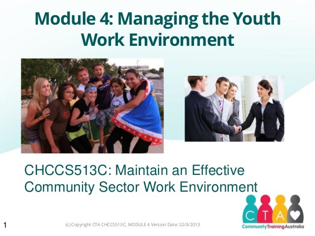 Module 4: Managing the YouthWork Environment1CHCCS513C: Maintain an EffectiveCommunity Sector Work Environment(c) Copyrigh...