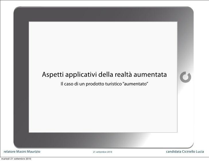 Aspetti applicativi della realtà aumentata. Tesi Specialistica - 2007