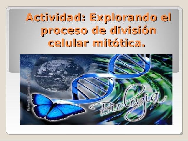 Actividad: Explorando elActividad: Explorando elproceso de divisiónproceso de divisióncelular mitótica.celular mitótica.