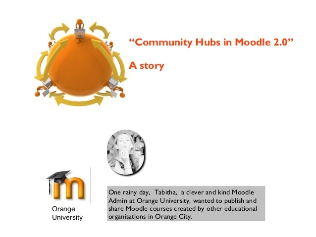 Orange University One rainy day, Tabitha, a clever and kind Moodle Admin at Orange University, wanted to publish and share...
