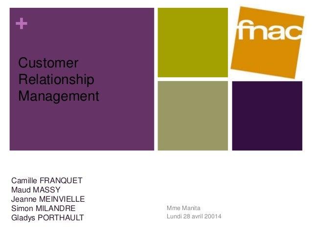 +  Mme Manita  Lundi 28 avril 20014  Customer  Relationship  Management  Camille FRANQUET  Maud MASSY  Jeanne MEINVIELLE  ...
