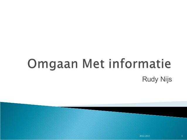 Omgaan met informatie