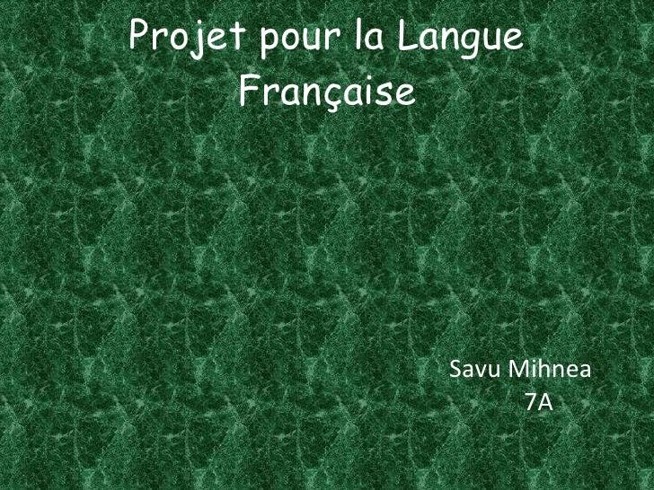 Projet pour la Langue Française <ul><li>Savu Mihnea </li></ul><ul><li>7A </li></ul>