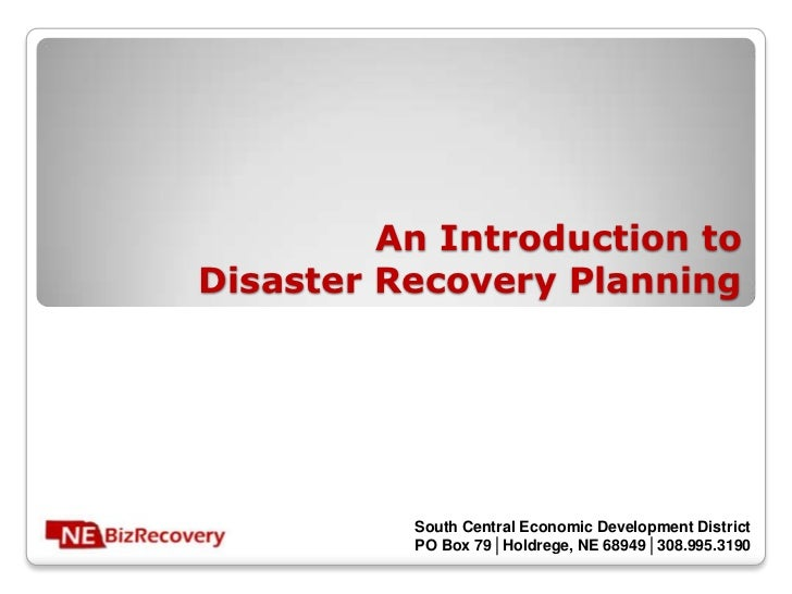 An Introduction toDisaster Recovery Planning          South Central Economic Development District          PO Box 79│Holdr...