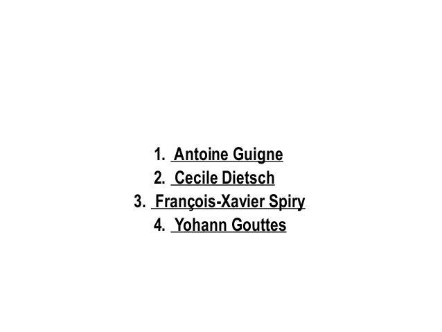 1. Antoine Guigne 2. Cecile Dietsch 3. François-Xavier Spiry 4. Yohann Gouttes
