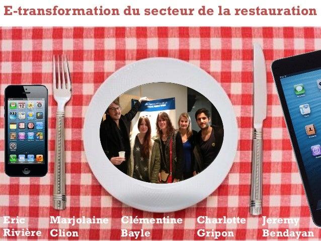 E-transformation du secteur de la restaurationEric    Marjolaine   Clémentine   Charlotte   JeremyRivière Clion        Bay...