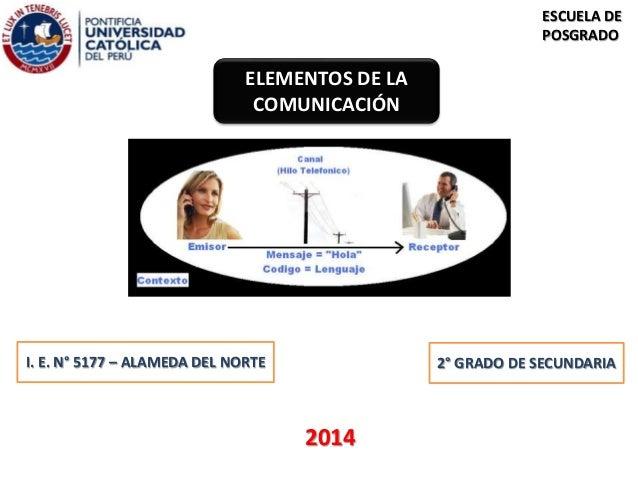 ELEMENTOS DE LA  COMUNICACIÓN  ESCUELA DE  POSGRADO  I. E. N° 5177 – ALAMEDA DEL NORTE  2014  2° GRADO DE SECUNDARIA