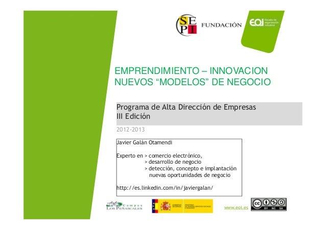 Emprendimiento, innovacion y diseño Nuevos Modelos de Negocio