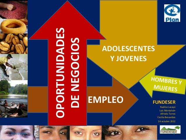 Estudio de Identificación de Oportunidades de Negocios y Empleo para Adolescentes y Jóvenes Hombres y Mujeres en 15 municipios de Nicaragua, RESUMEN