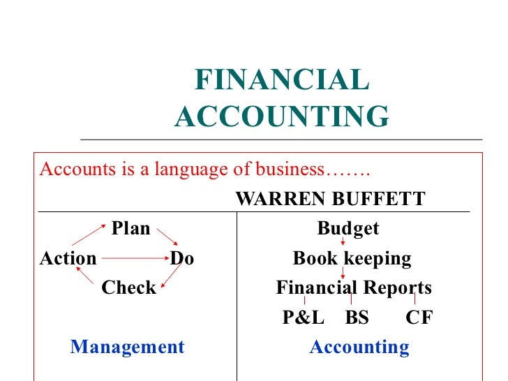FINANCIAL ACCOUNTING Accounts is a language of business……. WARREN BUFFETT Plan  Budget Action  Do  Book keeping Check  Fin...