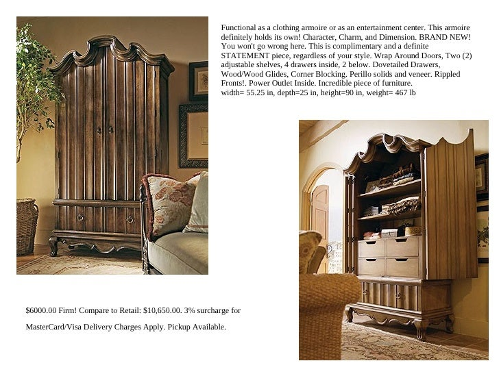 Functional as a clothing armoire or as an entertainment center. This armoire                                              ...