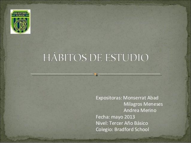 Expositores: Monserrat AbadMilagros MenesesIn Andrea MerinoFecha: marzo 2013Reunión de Padres y ApoderadosTercer Año Básic...