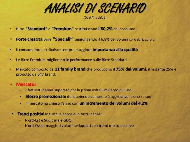 """ANALISI DI SCENARIO    (Dati fine 2011)•     Birre """"Standard"""" e """"Premium"""" costituiscono l'80,2% del consumo• Forte crescit..."""