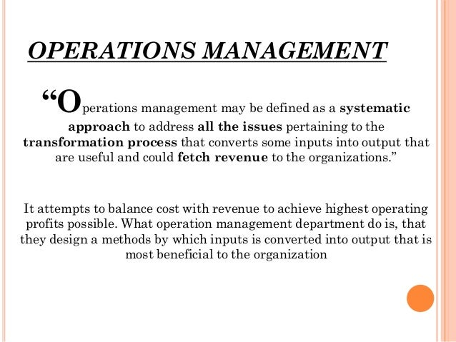 operation management strategy and analysis Learn how to identify the operations systems in your workplace and use operations management strategy and facility layout of operations and supply chain.