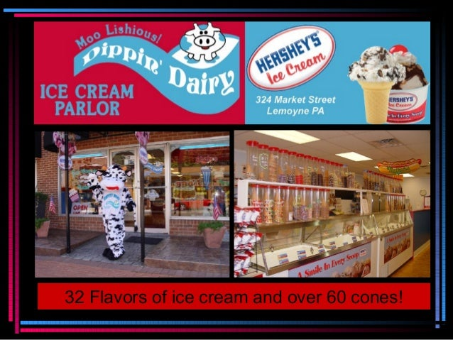 32 Flavors of ice cream and over 60 cones!
