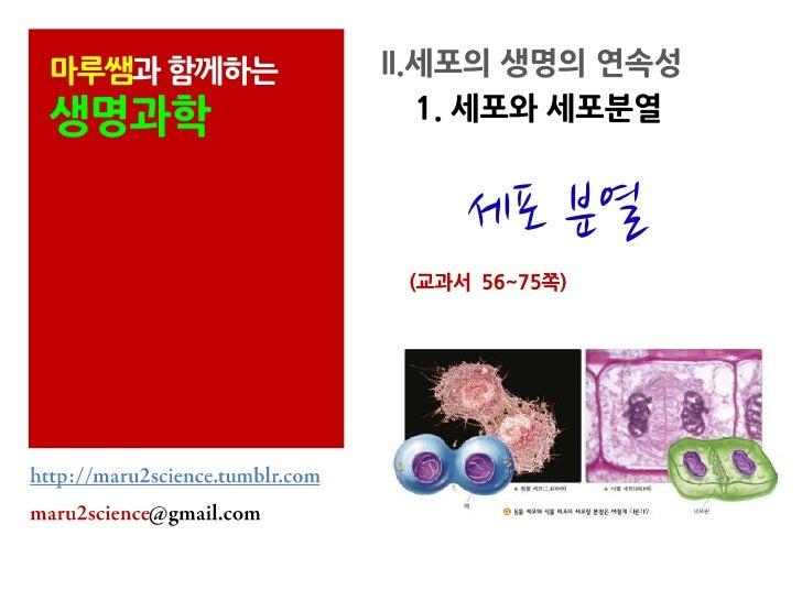 마루쌤과 함께하는   II.세포의 생명의 연속성생명과학           1. 세포와 세포분열                 세포 분열             (교과서 56~75쪽)