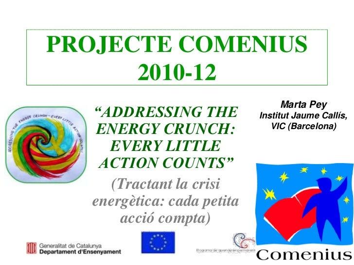 """PROJECTE COMENIUS      2010-12                                  Marta Pey   """"ADDRESSING THE           Institut Jaume Callí..."""