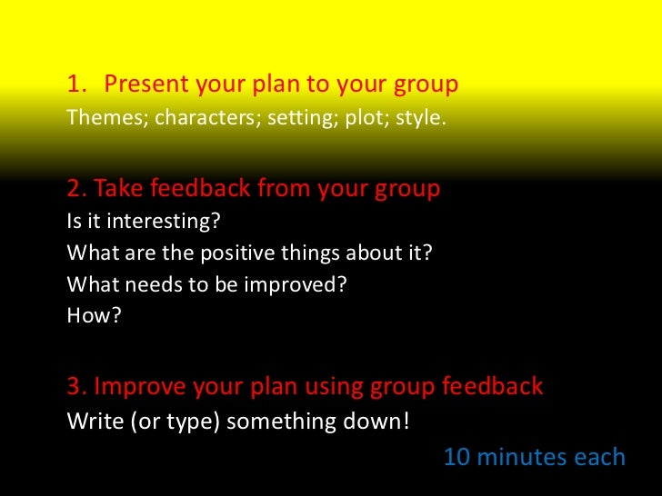 Spotlight<br />Present your plan to your group<br />Themes; characters; setting; plot; style.<br />2. Take feedback from y...