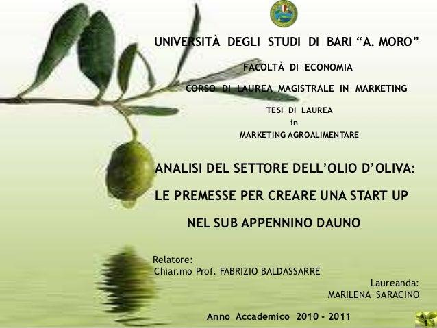 """UNIVERSITÀ DEGLI STUDI DI BARI """"A. MORO""""                  FACOLTÀ DI ECONOMIA      CORSO DI LAUREA MAGISTRALE IN MARKETING..."""