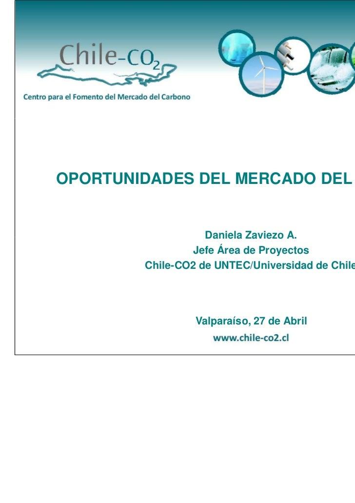 OPORTUNIDADES DEL MERCADO DEL CARBONO                   Daniela Zaviezo A.                Jefe Área de Proyectos        Ch...