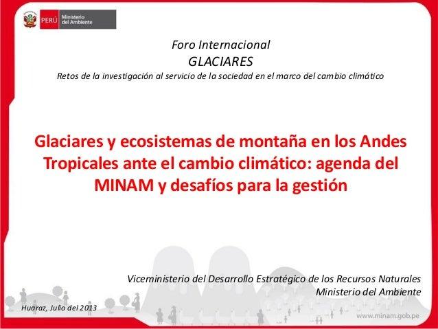 Glaciares y ecosistemas de montaña en los Andes Tropicales ante el cambio climático: agenda del MINAM y desafíos para la g...