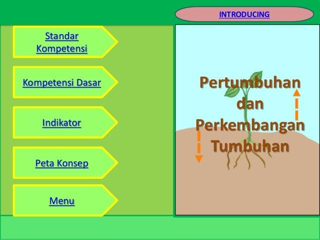 Pertumbuhan dan Perkembangan Tumbuhan Standar Kompetensi Kompetensi Dasar Indikator Peta Konsep Menu INTRODUCING
