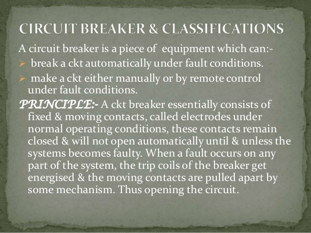 Classification Circuit Breaker Circuit Breakers Sulphur